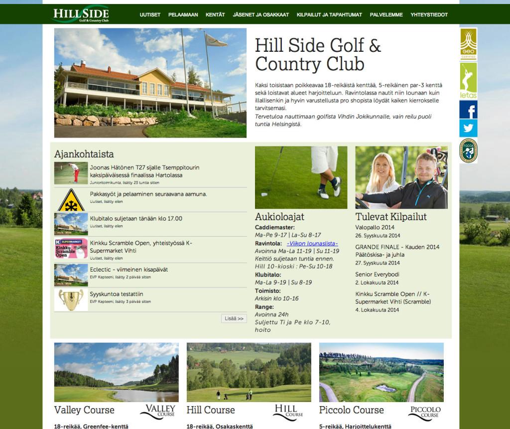 Hill Side Golf kotisivut