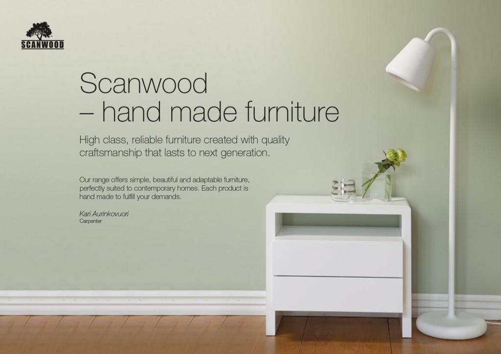 Scanwood tuote-esite. Graafinen suunnittelu ja valokuvaus.